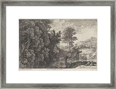 Landscape With A Wooden Bridge, Herman Van Swanevelt Framed Print