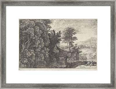 Landscape With A Wooden Bridge, Print Maker Herman Van Framed Print