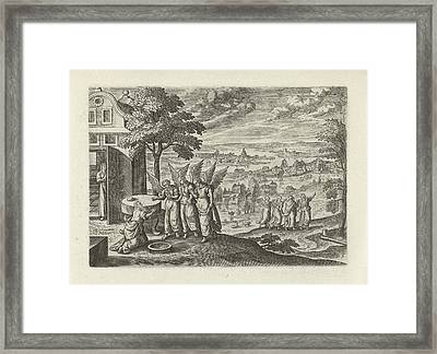 Landscape With Abraham And The Three Angels Framed Print