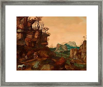 Landscape With Adam And Eve Framed Print by Mountain Dreams