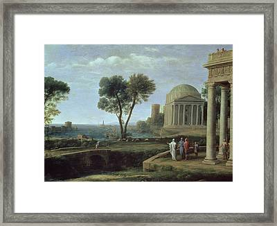 Landscape With Aeneas At Delos, 1672 Oil On Canvas Framed Print by Claude Lorrain
