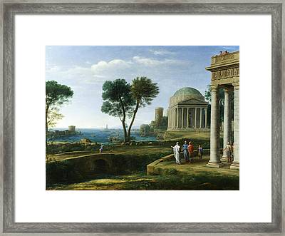 Landscape With Aeneas At Delos Framed Print by Claude Lorrain