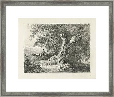 Landscape With Bare Tree And Shepherd, Constantinus Framed Print by Quint Lox