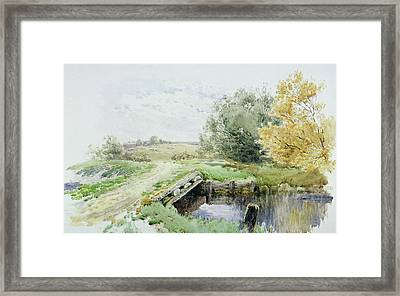 Landscape With Bridge Over A Stream Framed Print by John Clayton Adams