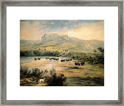 Landscape With Buffalo Ont The Upper Missouri Framed Print by Karl Bodmer