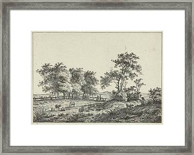 Landscape With Cartoonist And Dog, Hermanus Fock Framed Print by Artokoloro