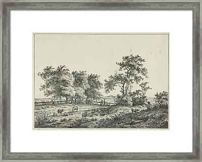 Landscape With Cartoonist And Dog, Hermanus Fock Framed Print by Artokoloro