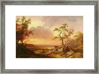 Landscape With Cattle And Peasant Landscape With Cattle Framed Print by Litz Collection