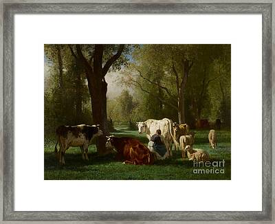 Landscape With Cattle And Sheep Framed Print by Constant Emile Troyon