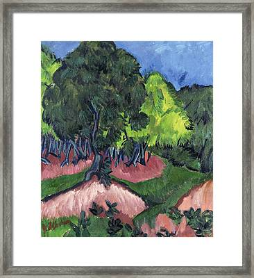 Landscape With Chestnut Tree Framed Print by Ernst Ludwig Kirchner