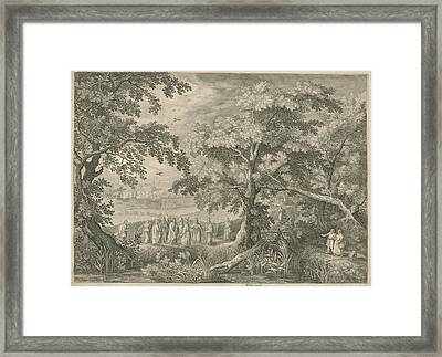 Landscape With Christ And The Disciples In The Cornfield Framed Print by Jan Van Londerseel And David Vinckboons And Claes Jansz. Visscher Ii