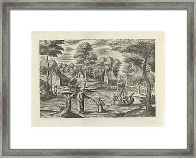 Landscape With Christ Walking On The Water Framed Print
