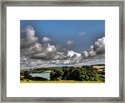 Landscape With Clouds Framed Print by Winifred Butler