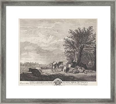 Landscape With Cows, Elisabeth Marie Simons Framed Print by Elisabeth Marie Simons And Charles-andr?-melchior Baron Van Proli