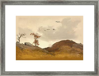 Landscape With Crows Framed Print by Karl Friedrich Lessing