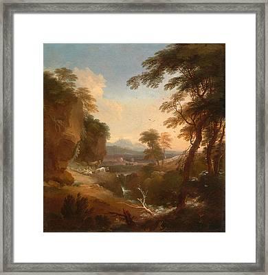 Landscape With Distant Mountains Framed Print by Adriaen van Diest