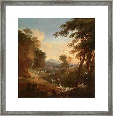 Landscape With Distant Mountains Signed In Ocher Paint Framed Print by Litz Collection