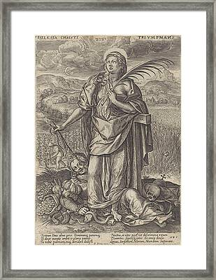 Landscape With Faith, Behind Her The Cross Framed Print by Johannes Wierix