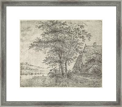 Landscape With Farm And Well, Peter Janson Framed Print by Peter Janson