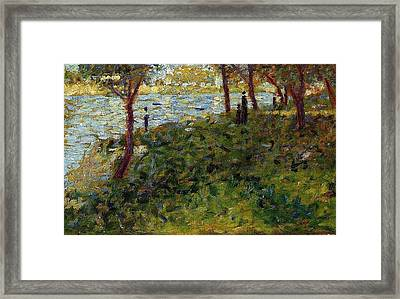 Landscape With Figures Framed Print by Georges Seurat