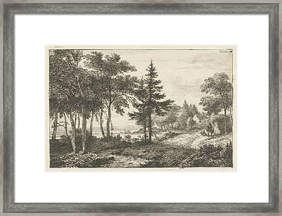 Landscape With Fir Tree And Horseman. Print Maker Pieter Framed Print