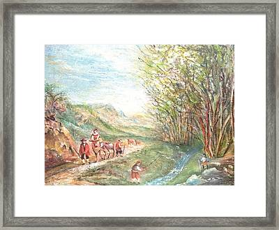 Framed Print featuring the painting Landscape With Fisherman by Egidio Graziani