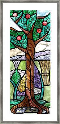 Landscape With Flora Framed Print by Gilroy Stained Glass
