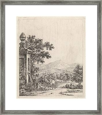 Landscape With Fountain, Jan Van Huissen Framed Print