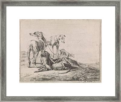 Landscape With Four Greyhounds, Jacob De Jonckheer Framed Print by Jacob De Jonckheer