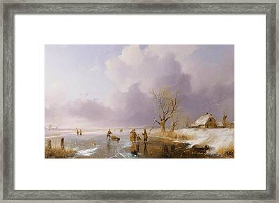 Landscape With Frozen Canal Framed Print by Remigius van Haanen