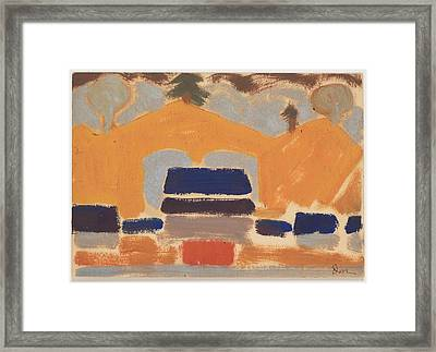 Landscape With Houses Framed Print by Arthur Dove