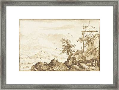 Landscape With In The Background The River Rhine Framed Print by Jurriaan Cootwijck