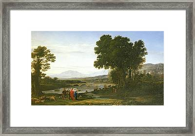 Landscape With Jacob And Laban And Labans Daughters, 1654 Framed Print by Claude Lorrain
