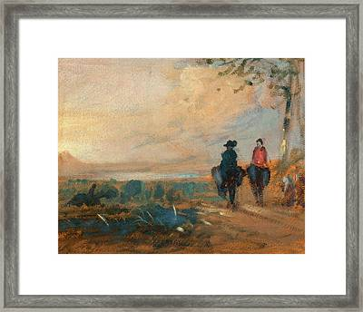 Landscape With Lake And Two Figures Riding Landscape Framed Print by Litz Collection