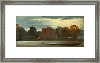 Landscape With Lake Lake Scene With Mountains Framed Print by Litz Collection