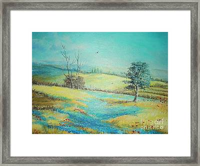 Framed Print featuring the painting Landscape With Lavanda  by Sorin Apostolescu