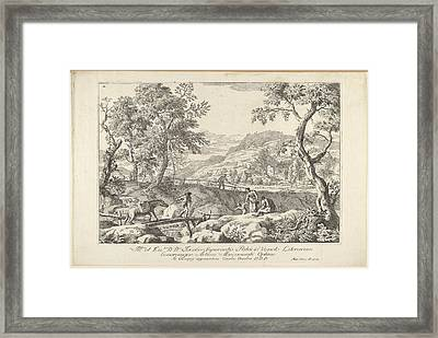 Landscape With Man Leading A Pack Horse Framed Print by Marco Ricci
