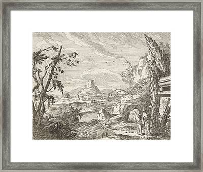 Landscape With Mountains And Ruinous Buildings Framed Print by Anonymous