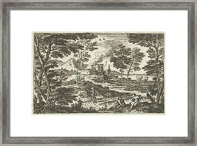 Landscape With Pedestrians And Castle, Adriaen Van Der Kabel Framed Print by Adriaen Van Der Kabel
