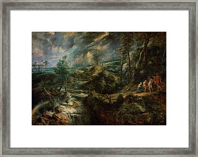 Landscape With Philemon And Baucis C.1625 Oil On Panel Framed Print by Peter Paul Rubens