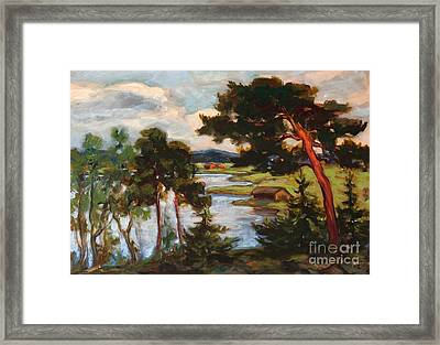 Landscape With Pine Trees Framed Print by Celestial Images