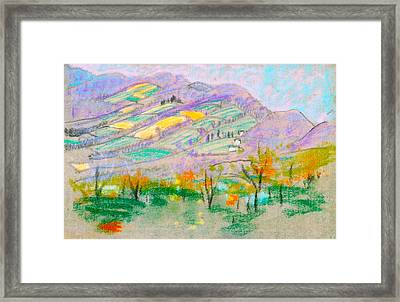 Landscape With Purple Mountains Framed Print by Arthur B Davies