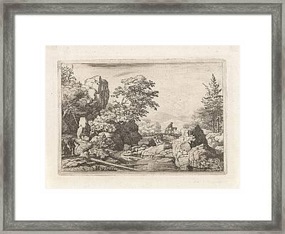 Landscape With Rider On Bridge, Allaert Van Everdingen Framed Print