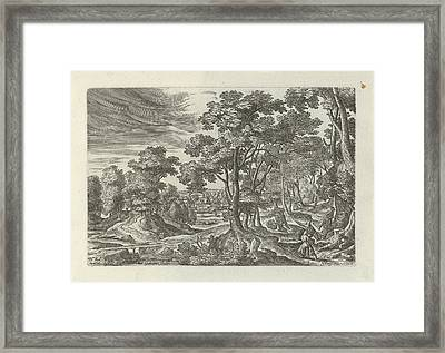 Landscape With Robbery Of The Traveler, Julius Goltzius Framed Print
