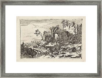 Landscape With Ruins And Waterfall, Jan Smees Framed Print by Jan Smees