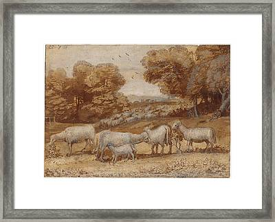 Landscape With Sheep Framed Print by Claude Lorrain