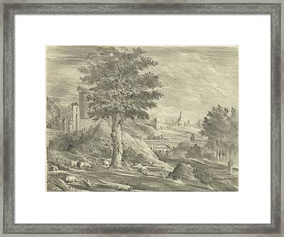 Landscape With Shepherd And Sheep, Jurriaan Cootwijck Framed Print by Jurriaan Cootwijck