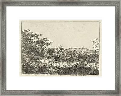 Landscape With Shepherd And Wife, Print Maker Hermanus Fock Framed Print by Hermanus Fock