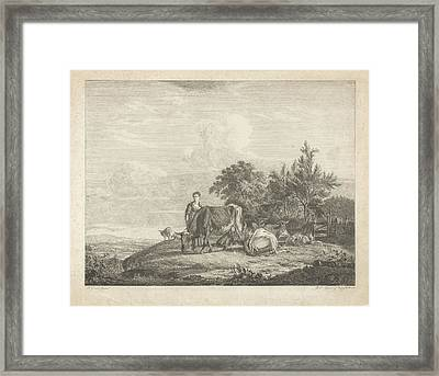 Landscape With Shepherdess With Her Flock Framed Print by Jacobus Cornelis Gaal And Pieter Gaal
