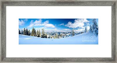 Landscape With Snow Covered Trees Framed Print by Boon Mee